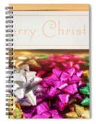 Merry Christmas Message With Colourful Bows Spiral Notebook
