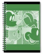 Mickey In Negative Olive Green Spiral Notebook