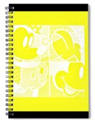 Mickey In Negative Yellow Spiral Notebook
