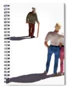 Miniature Figurines Couple Watching Elderly Man Spiral Notebook