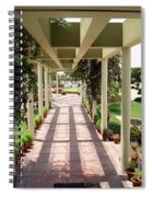 Mix Of Light And Shade Under A Partially Covered Pathway With Pillars Spiral Notebook