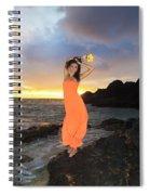 Model In Orange Dress Spiral Notebook