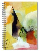 Modern Art With Yellow Black Red And Fanciful Clouds Spiral Notebook
