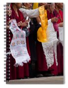 Monks Wait For The Dalai Lama Spiral Notebook