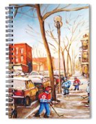 Montreal Street With Six Boys Playing Hockey Spiral Notebook