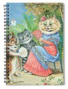 Mother Cat With Fan And Two Kittens Spiral Notebook