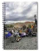 Musicians On The Charles Bridge - Prague Spiral Notebook