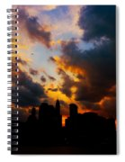 New York City Skyline At Sunset Under Clouds Spiral Notebook