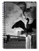 Night Of The Cormorant . Black And White Spiral Notebook