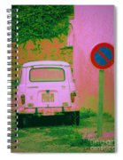 No Parking Sign With Pink Car Spiral Notebook