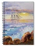 Ocean Waves And Sailing Ship Spiral Notebook