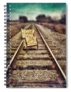 Old Chair On Railroad Tracks Spiral Notebook