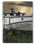 Old Fishing Boat On Shore With Storm Moving In Spiral Notebook