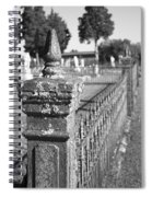 Old Graveyard Fence In Black And White Spiral Notebook