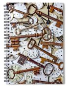 Old Keys And Watch Dails Spiral Notebook