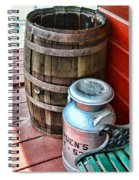 Old Milk Cans And Rain Barrel. Spiral Notebook