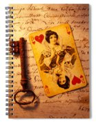 Old Playing Card And Key Spiral Notebook
