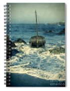 Old Sailing Vessel Near The Rocky Shore Spiral Notebook