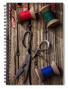 Old Scissors And Spools Of Thread Spiral Notebook