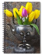 Old Tea Pot And Tulips Spiral Notebook