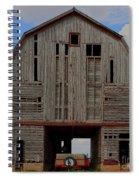 Old Wagon Older Barn Panoramic Stitch Spiral Notebook