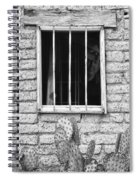 Old Western Jailhouse Window In Black And White Spiral Notebook