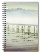 Old Wooden Bridge Into A Mountain Lake On A Foggy Morning Spiral Notebook