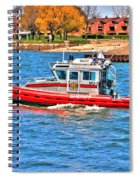 On Patrol At The Erie Basin Marina  Spiral Notebook
