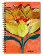 One Yellow Flower And Pinky Peach Behind Spiral Notebook
