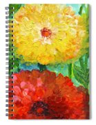 One Yellow One Red And Orange Flower Shines Spiral Notebook