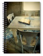 Open Book On Old Table Spiral Notebook