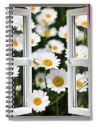 Open Windows Onto Large Daisies Spiral Notebook