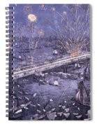 Opening Of The Great New York And Brooklyn Bridge And Grand Display Of Fire Works Spiral Notebook