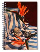 Orange Flowers And Blue Cloth Spiral Notebook