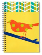 Orange Polka Dot Bird Spiral Notebook