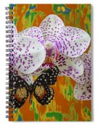 Orchids With Speckled Butterfly Spiral Notebook