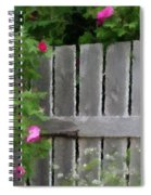Painterly Fence And Roses Spiral Notebook
