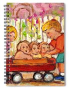 Paintings For Children - Boy - Girl - Red Wagon And Puppies Spiral Notebook