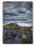 Pelicans Over The Surf On Coronado Spiral Notebook