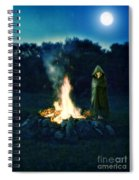 Person Standing By A Bonfire In The Moonlight Spiral Notebook