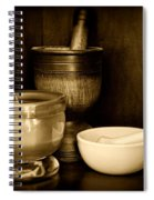 Pharmacy - Mortars And Pestles - Black And White Spiral Notebook