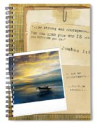 Photo Of Boat On The Sea With Bible Verse Spiral Notebook