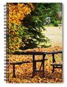 Picnic Table With Autumn Leaves Spiral Notebook