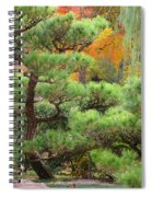 Pine And Autumn Colors In A Japanese Garden II Spiral Notebook