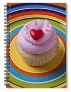 Pink Cupcake With Red Heart Spiral Notebook