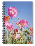 Pink Flowers Against Blue Sky Spiral Notebook