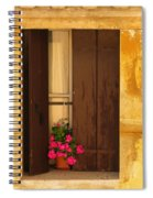 Pink Geraniums Brown Shutters And Yellow Window In Italy Spiral Notebook