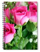 Pink Roses And Gypsophila Bouquet Spiral Notebook
