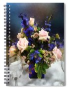 Pink Roses And Purple Delphinium Spiral Notebook