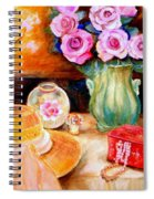 Pink Roses In A Green Vase With A String Of Pearls And A Pretty Summer Straw Hat  Spiral Notebook